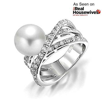 CZ Criss Cross Simulated Pearl Cocktail Ring Rhodium Plated