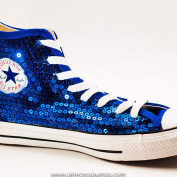 Royal Blue Sequin Converse Canvas Hi Top from Princess Pumps 2ca64dc68ea2