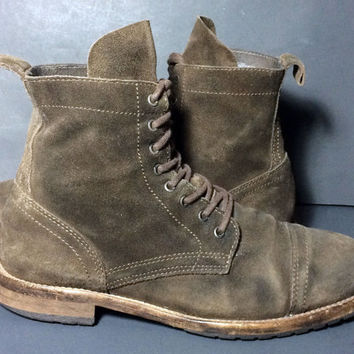 AllSaints Brown Suede Leather Combat Military Boots Men's Size 43 Size 10