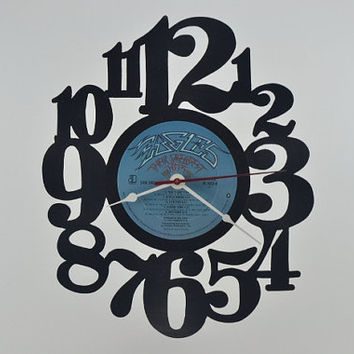 Vinyl Record Clock Wall Hanging  (artist is The Eagles)