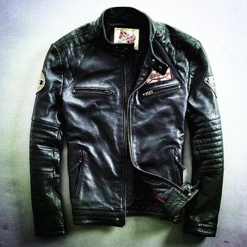 Harley motorcycle rider jacket, slim mens genuine leather jacket, man's genuine leather coat