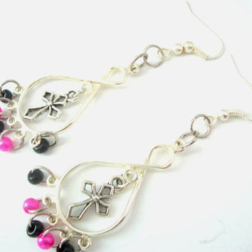 Cross Dangle Earrings, Hot Pink and Black Seed Beads, Christian Earrings, Silver Metal Earrings