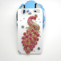 Handmade hard case for Motola Droid Razr: Bling peacock (custom order are welcome)
