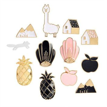 ac spbest 2017 Cartoon Enamel Pins Fruit Pineapple Apple Brooches Pin Badges Cute Metal Animal Horse Brooches Pins For Women
