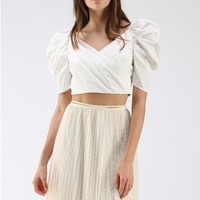 Fuzzy Feeling Puff Sleeves Wrapped Top in White