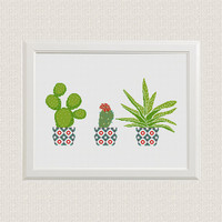 Cactus cross stitch pattern Floral embroidery sampler Geometric PDf pattern Counted xstitch Printable pdf pattern Modern birthday DIY gift