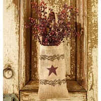 Vintage Hanging Burlap Bag - Vintage Berries and Burgundy Star (4-in x 7-in)