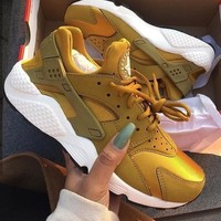 """NIKE""AIR Huarache Running Sport Casual Shoes Sneakers Golden H-AA-SDDSL-KHZHXMKH"