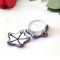Tea Light Holders - set of 2 candle holders, tea bag plate, shower favor, ceramic home decor, Passover gift