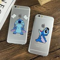 Soft TPU Ultra-Thin Transparent cute cartoon Stitch phone case For iphone 7 7plus 6 6s 4.7 6plus 5s SE cover