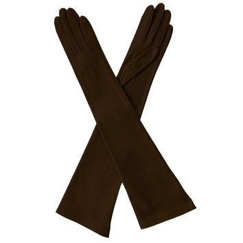 Dark Brown Leather Gloves Opera Length Silk Lined, 16 button