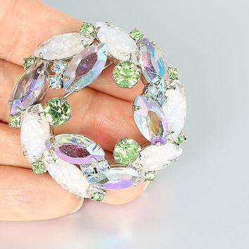 Juliana rhinestone Wreath Brooch, blue peridot green, givre molded glass