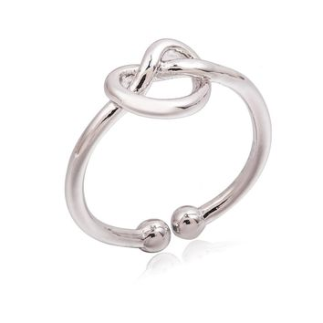 Gold Silver Black Heart Open Rings Hollow Knot Ring Women Fashion Midi Knuckle Mid Finger Jewelry Adjustable Accessories