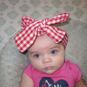 Big Bow, Bows, Hair Bow, Baby Headband Baby Girl Headband Head Wrap, Head wrap Newborn Headband Bows Gingham  Goodtreasures123