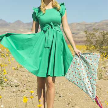 In a Cinch Stretch Poplin Fit And Flare Dress Green