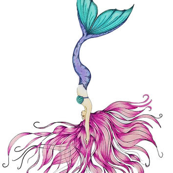 'Mermaid upside down in Pink' by Swigalicious