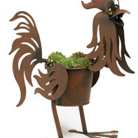 """Doc the Rooster indoor or outdoors (garden) décor plant stands. Holds 4"""" pots - 14"""" inches tall"""