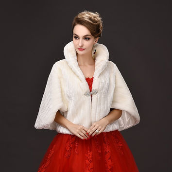 White Fur Coat Wedding Stole Shawl Shrug Bridal Prom Bolero Cape Ladies Evening Party Faux Fur Wedding Wraps Fashion Vintage