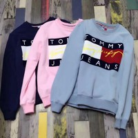 Tommy Hilfiger Jeans Fashion Long Sleeve Pullover Top Sweater Sweatshirt Day-First™