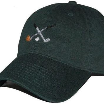 Crossed Golf Clubs Needlepoint Hat in Hunter Green by Smathers & Branson