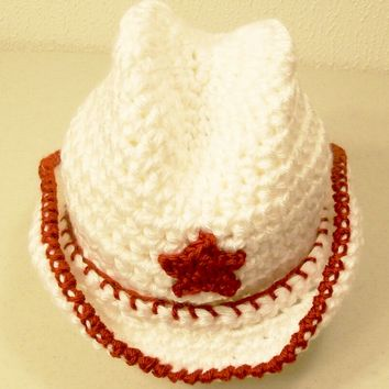 Western Baby Cowboy Hat- White with Red-Baby Shower Gift-PLEASE CHOOSE SIZE