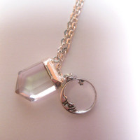 Moon Charm Crystal Quartz Sterling Silver Cap Pendant Necklace With Optional Chain Upgrade