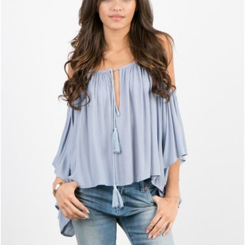 Cold Shoulder Spaghetti Strap lace Up Pleated Loose Blouse