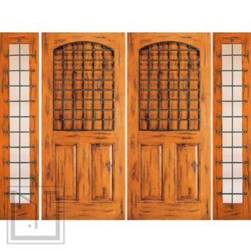 Prehung Double Door with Two Sidelites, Entry, Knotty Alder 3-Panel