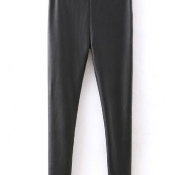 Black Elastic Waist Matte PU Leather Leggings with Extra Wool Inside