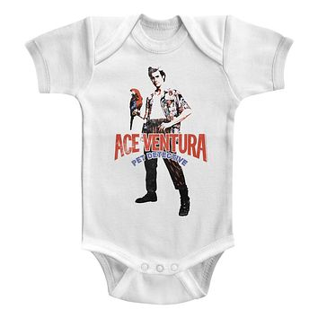 Ace Ventura Infant Bodysuit Pose With Macaw White Romper