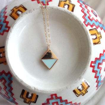 Petite Gold and Mint Triangle Necklace