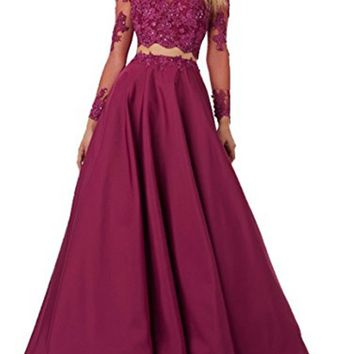 Gardlilac Two pieces Lace Bodice Beads Prom Dresses Long Sleeve Evening Party Dress Floor-Length A-Line Wedding Party Dress