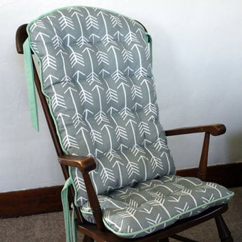 Custom Tribal Arrow Rocking Chair Cushions, Glider Replacement Pads, Rocker Cushions, Wooden Rocking Chair Pads