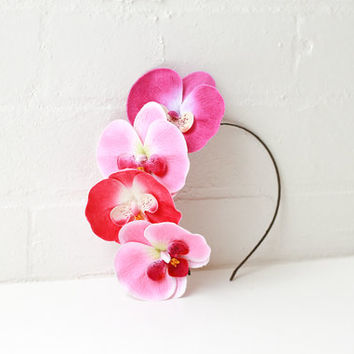 orchid flower headband / statement spring racing carnival fascinator headpiece, wedding bridal hair, festival crown, nature inspired.
