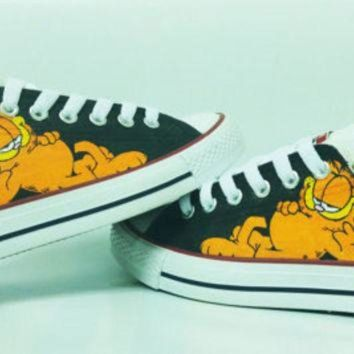 DCKL9 garfield cartoon handpainted shoes converse Custom one of a kind canvas