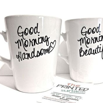 Latte mug couple set of 2 mugs set -good morning beautiful and handsome set perfect couple gift wedding gift, housewarming Gift