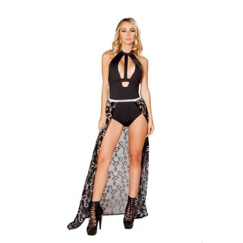 Roma Rave 3503 - Sequin & Sheer Skirt with Elastic Band