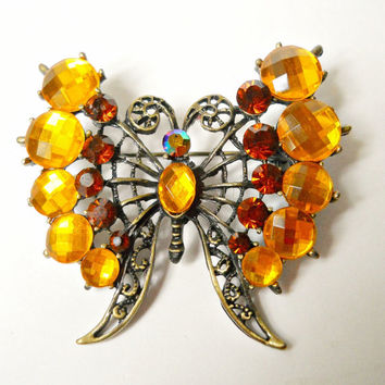 Lucite Butterfly Brooch Filigree Vintage Yellow Orange