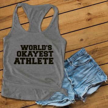 World's okayest athlete Women's Ideal Racerback Tank