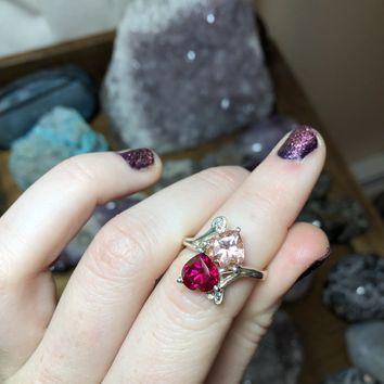 Pink Tourmaline and Topaz Hearts Ring Size 8 Fine Grade Sterling Silver