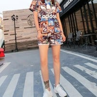 """Adidas"" Fashion Casual Multicolor Clover Letter Print Short Sleeve Sweater Set Two-Piece Sportswear"