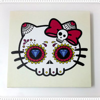 Framed Canvas Hello Kitty Sugar Skull - Wall Clock