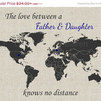 SALE Father & Daughter World Map Print- world map dad, deployment map print, military overseas, long distance map, canvas deployment, father