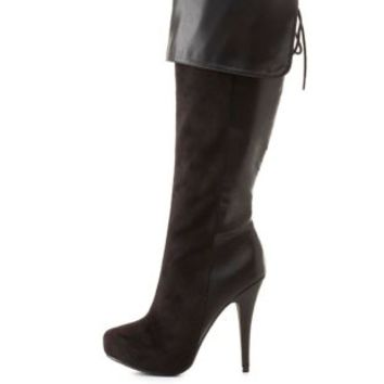 Cuffed Knee-High Heel Boots by Charlotte Russe - Black