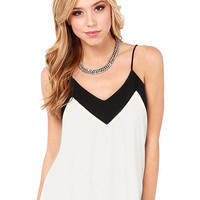 White and Black Sleeveless V Neck Cami Top