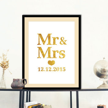 Mr and Mrs sign, Custom design, Black & white, Gold Art Print,Wedding print, Modern Wedding engagement gift, Wall Art, modern art Room Décor