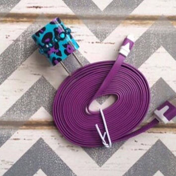 New Super Cute Jeweled Purple Cheetah Print Designed Wall USB Connector + 10ft  Flat Purple iPhone 5/5s/5c/6 Plus Cable Cord