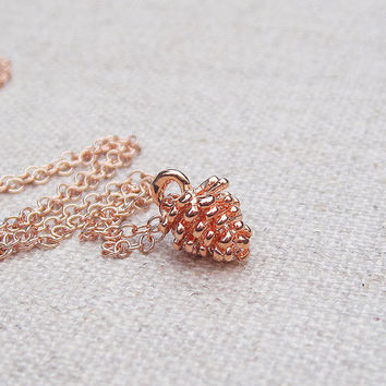 Rose gold pinecone necklace on a delicate rose gold filled chain, dainty everyday minimalist jewelry, little gold pinecone charm pendant