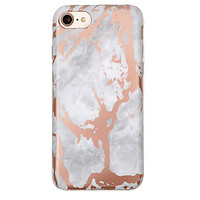White Marble Rose Gold Chrome iPhone Case