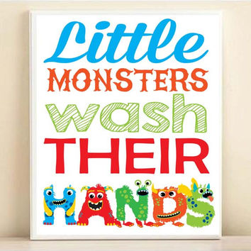 Kids Bathroom Art, Little Monsters Wash Their Hands, Brush Their Teeth, Take A Bath 8x10 11x14 Kids Bathroom Art Boy Bathroom Monsters